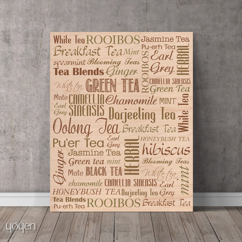 Tea Guide (Wood) Print - FREE Shipping