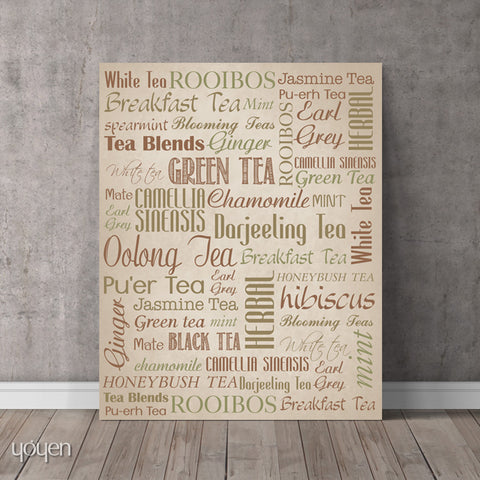 Tea Guide Print. Typographic art for the tea lover.
