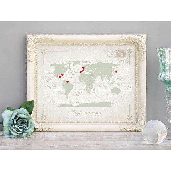 DIY Travel World Map Kit - Vintage Damask (Sage)