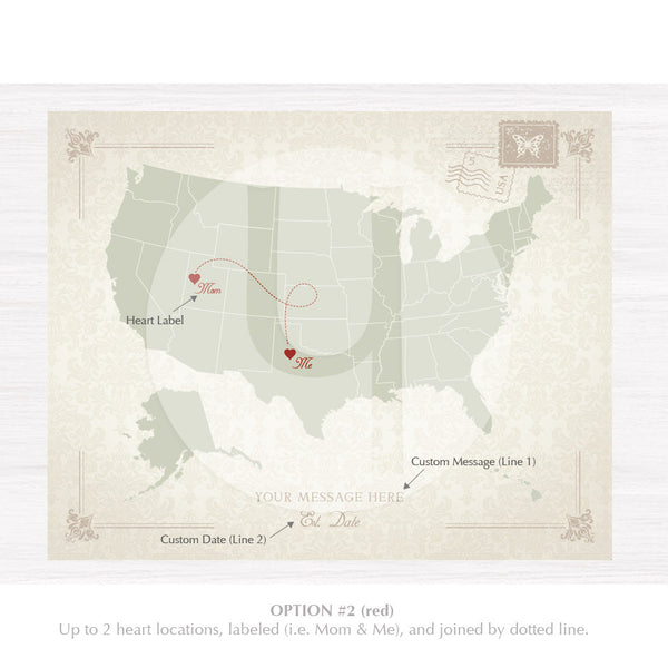 Vintage Damask Personalized USA Map Print - 3 Design Options