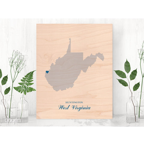 Contemporary Rustic Wood State Pride Print. Personalized Print.