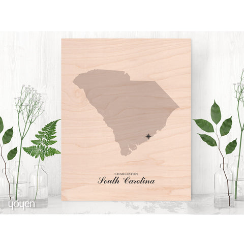 Contemporary Rustic Wood State Pride Print. Personalized Black Compass Print.