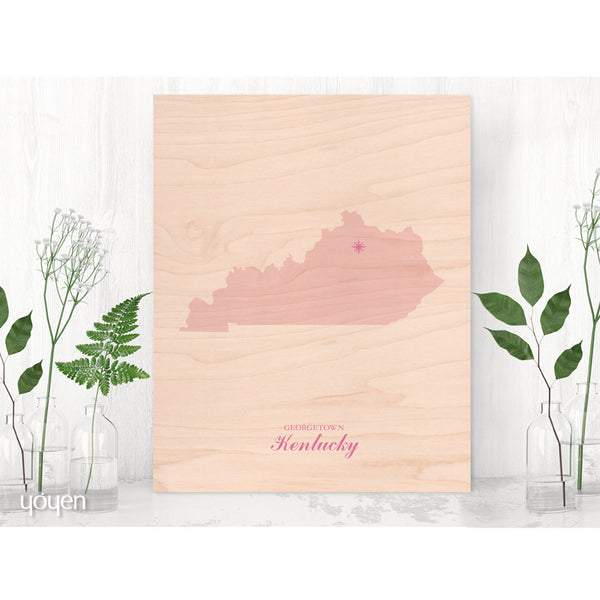 Contemporary Rustic Wood State Pride Print. Personalized Pink Compass Print.