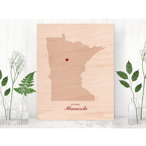 Contemporary Rustic Wood State Pride Print. Personalized Red Heart Print.