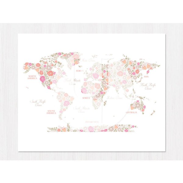 Floral World Map Print - 3 Background Options!