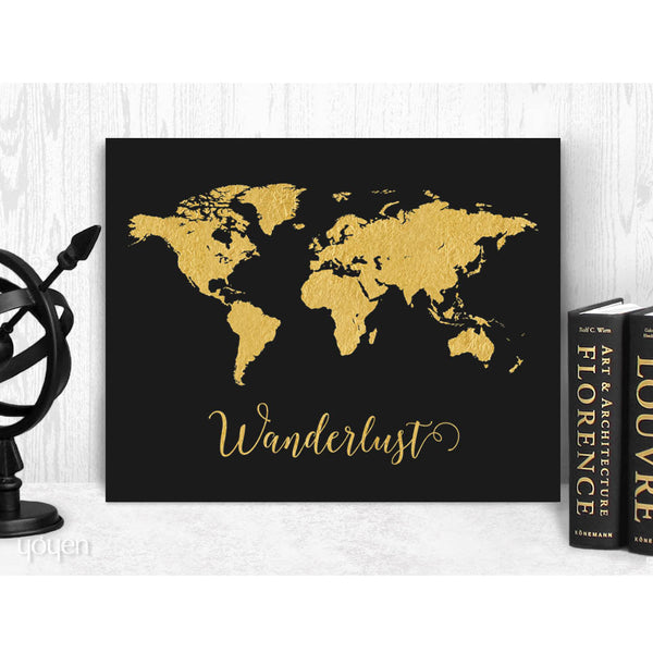 Wanderlust World Map Print. Faux Gold Foil Map Print. Gift Idea for the Traveler.