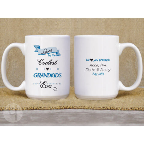 Loved by the Coolest Grandkids Ever Coffee Mug. Gift for Grandparents. Personalized Gift Idea.
