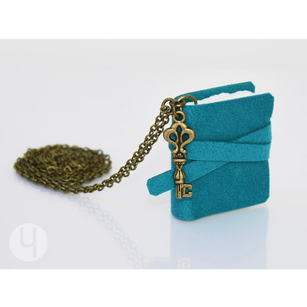 Deep Turquoise MiniBook Necklace - FREE Shipping!