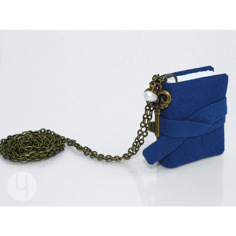 Navy Klein MiniBook Necklace MBNK-101