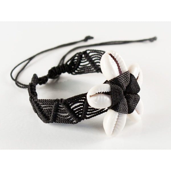 Beach Floret Black 3 Handmade Bracelet Fair Trade