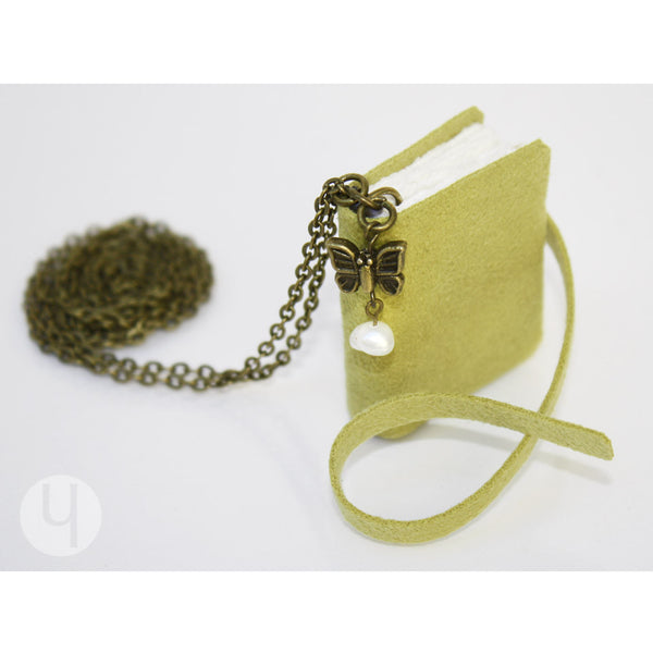 Verde Pear MiniBook Necklace