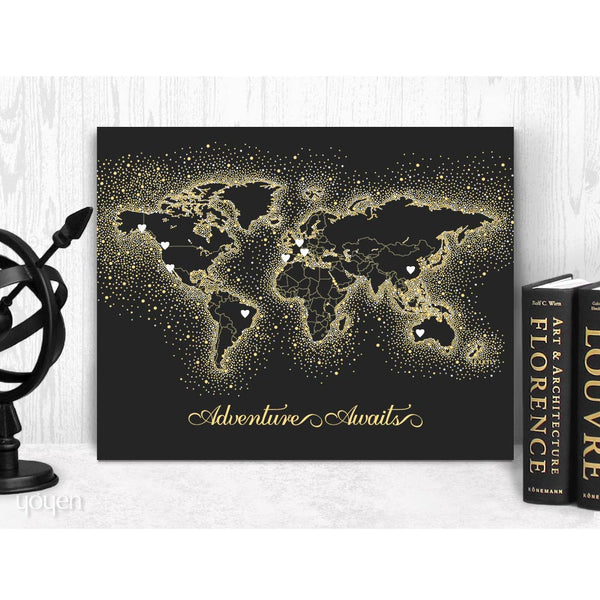 World Map Print Black Gold Dots Stickers Included Yoyen Gifts