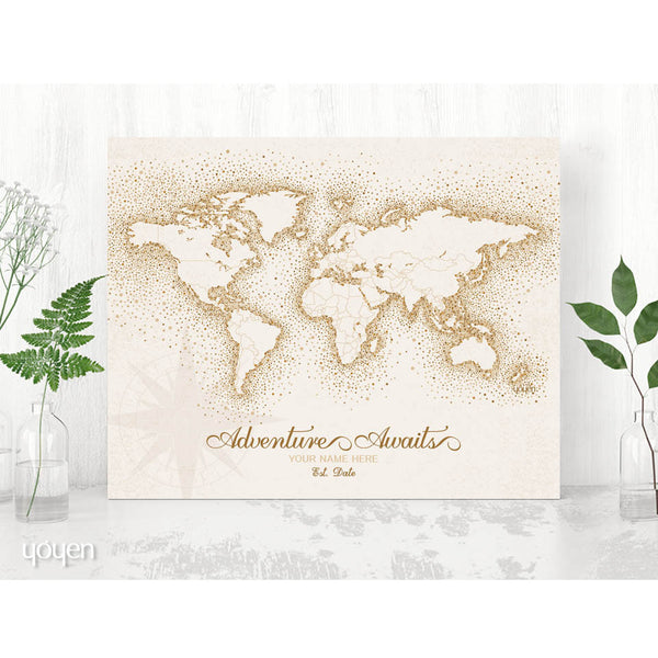 Personalized World Map Print. Gift idea for the traveler. Personalized Gift. Brown World Map.
