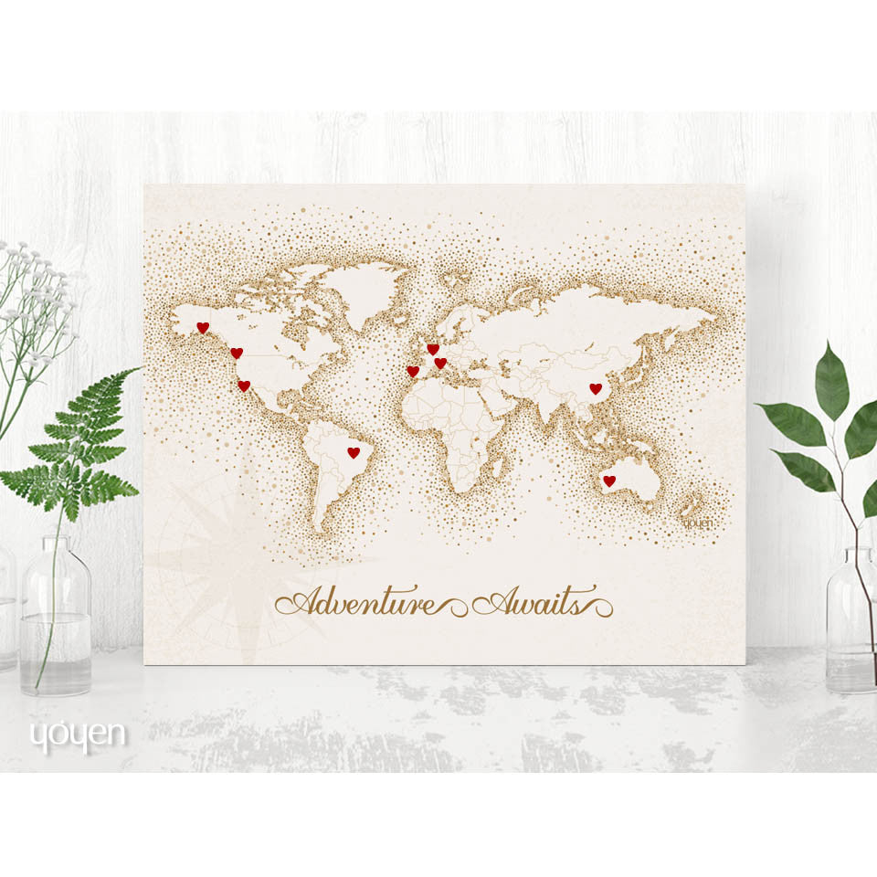 World map print vintage brown dots stickers included yoyen adventure awaits vintage world map diy world map print gift for travelers gumiabroncs Choice Image
