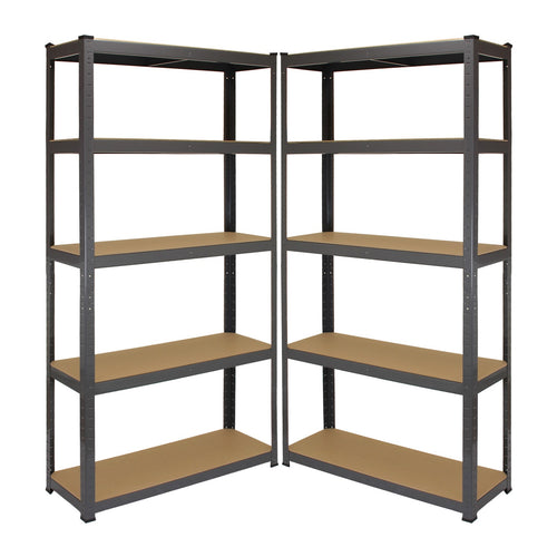 2 x Metal Storage Shelving Racks, Grey, 90cm (w) x 180cm (h) x 30cm (d)