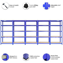 Load image into Gallery viewer, 5 x T-Rax 90cm Blue Racking & Bay Connectors