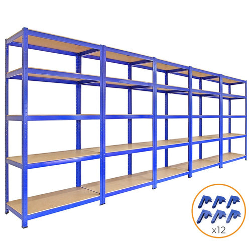 5 x T-Rax 90cm Blue Racking & Bay Connectors