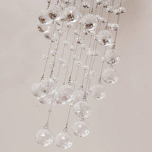 Load image into Gallery viewer, Crystal Ceiling Chandelier, Spiral Rain Drop-Silver/Crystal