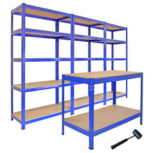 Load image into Gallery viewer, 3 T-Rax Storage Shelving Units & 120cm Q-Rax Workbench