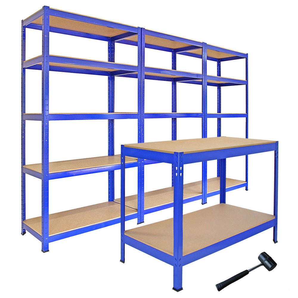 3 T-Rax Storage Shelving Units & 120cm Q-Rax Workbench