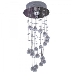 Crystal Ceiling Chandelier, Spiral Rain Drop-Silver/Crystal