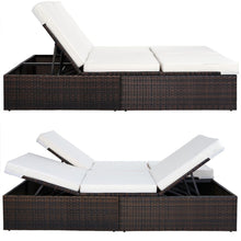 Load image into Gallery viewer, Rattan Garden Bed Sun Lounger