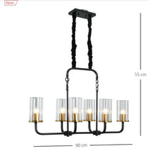 Load image into Gallery viewer, Steel Frame 6 Glass Light Ceiling Pendant Black/Gold