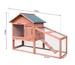 Small Animal Two-Level Fir Wood Hutch