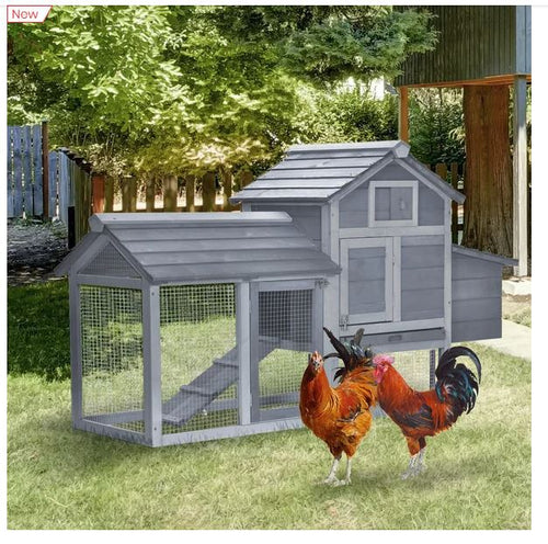 Chicken's 2-Tier Fir Wood Hutch Grey