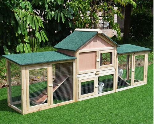 Rabbit Hutch, 210Lx45.5Wx84.5H cm, Fir Wood