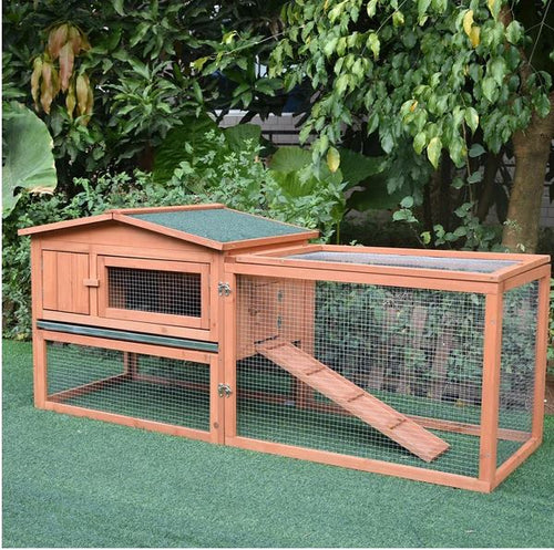 2-Floor Wooden Rabbit/Chicken Coop, 158L x 58W x 68H cm