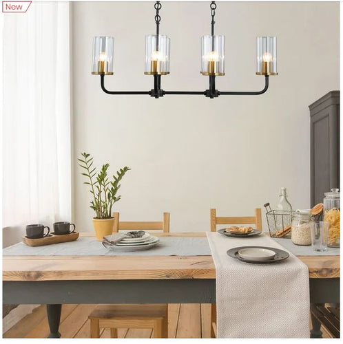 Steel Frame 6 Glass Light Ceiling Pendant Black/Gold