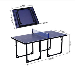 Folding Mini Table Tennis/Ping Pong Table Set-Black/Blue