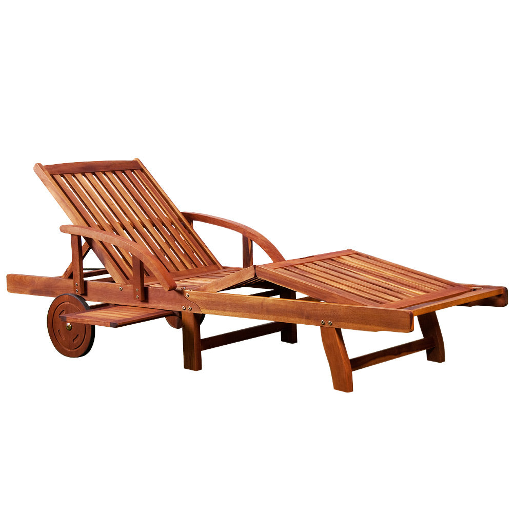 Sun Lounger Acacia Wood Extendable Drinks Tray