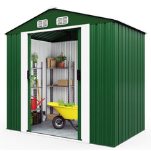 Load image into Gallery viewer, Garden Shed Green Metal 7x4x6ft