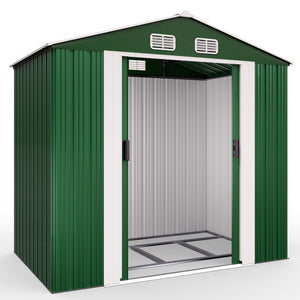 Garden Shed Green Metal 7x4x6ft