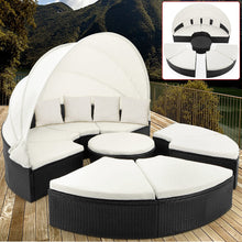 Load image into Gallery viewer, Poly Rattan Day Bed Sun Lounger with Canopy
