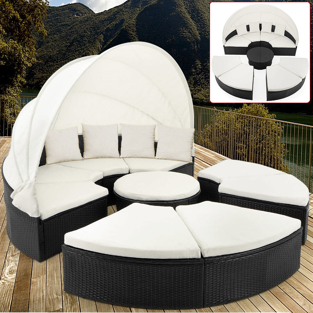Poly Rattan Day Bed Sun Lounger with Canopy