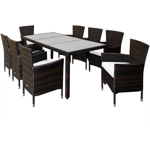 Poly Rattan Garden Furniture 17 Pcs Frosted Glass Brown