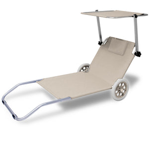 Alu Sun lounger with sunshade