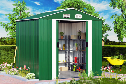 Garden Shed Green Metal 8.4x6.7x5.8ft