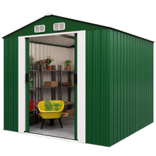 Load image into Gallery viewer, Garden Shed Green Metal 10x8.5x6ft