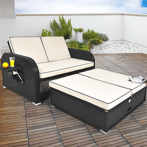 Poly Rattan Sofa Ottoman Combination - 2 side tables