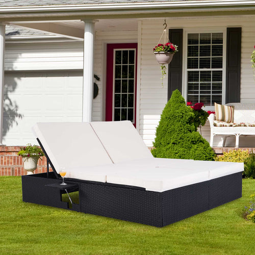 Poly Rattan Double Sun Lounger Black with 7cm strong cushions