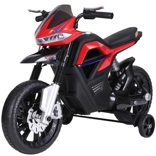 Ride On Kids Electric Motorbike Scooter Powered w/ Brake Lights and Music Red