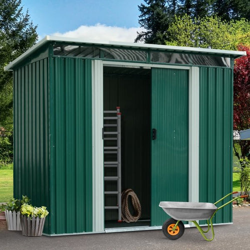 Garden Shed, 238.4Lx193.2Wx179.6-202.6H cm, Steel-Green