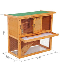 Load image into Gallery viewer, Wooden 90cm 2 Tiers Rabbit Hutch