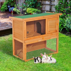 Wooden 90cm 2 Tiers Rabbit Hutch