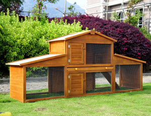 Wooden Rabbit Hutch House, 215x63x100 cm