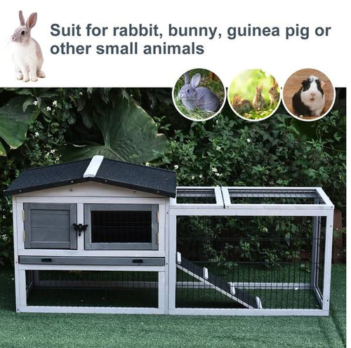 Small Animal Two-Level Fir Wood Hutch/House